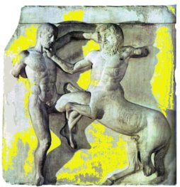 Metopa del Partenone raffigurante la lotta tra un Centauro e un Lapita