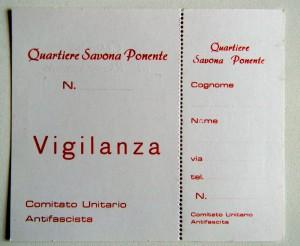 Tesserino Riconoscimento Quartiere Savona Ponente