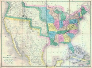 1839 map showing US-Mexican boundary before the Mexican War and US annexation of land that is now US states of California, Arizona, New Mexico, Nevada, Colorado, Utah and Texas.
