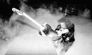 UNSPECIFIED - MARCH 01: Photo of DEEP PURPLE and Ritchie BLACKMORE; Guitarist with Deep Purple, smashing guitar against speakers on US tour, (Photo by Fin Costello/Redferns)